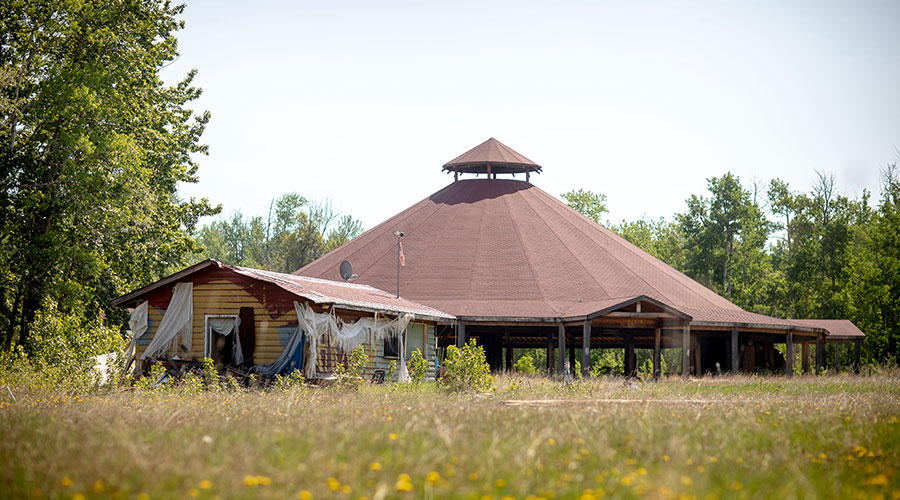 Abandoned pow wow grounds at Enoch Cree Nation